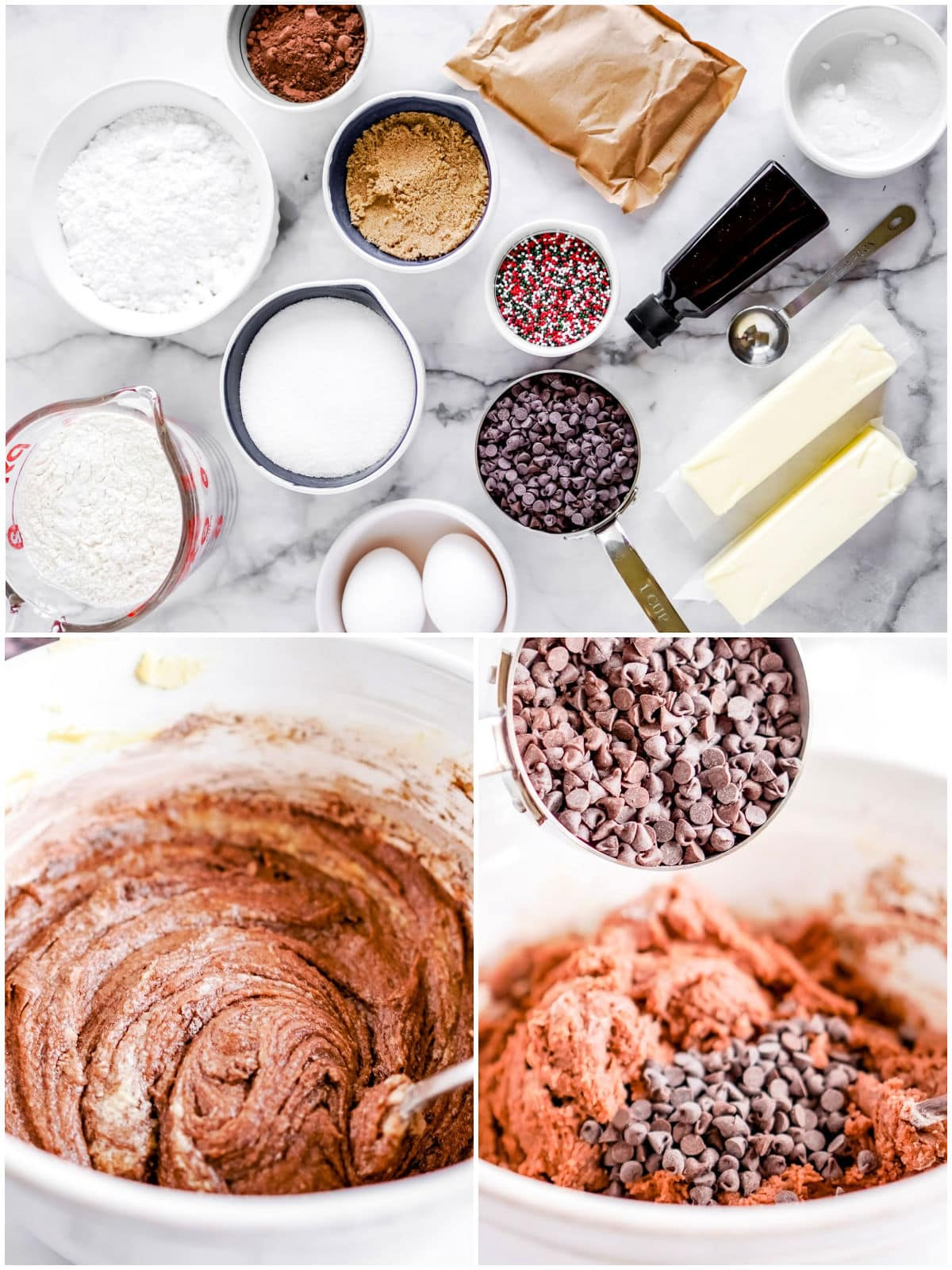 three image collage of cookie ingredients laid out and the cookie dough being mixed together