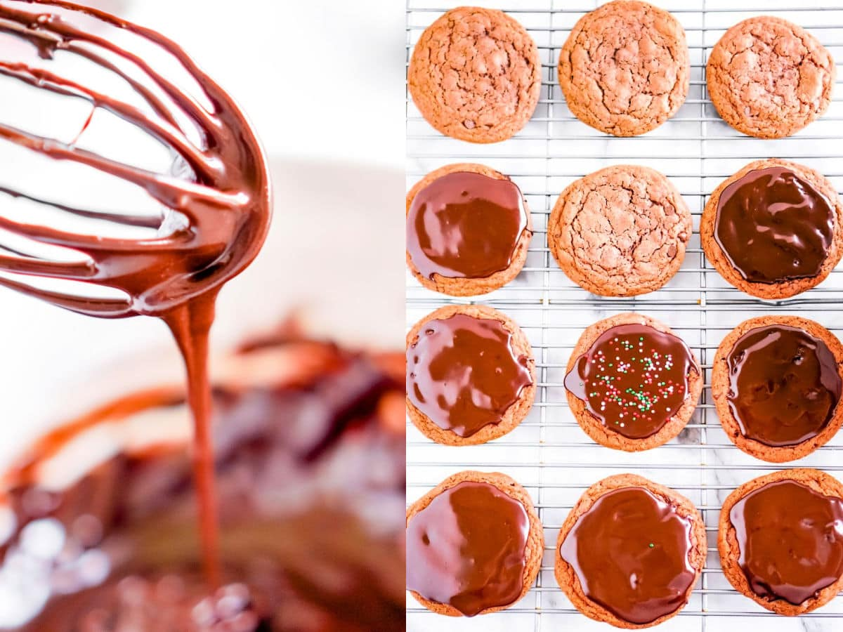 two image collage of glaze dripping off whisk and top down view of chocolate cookies without about half of them glazed
