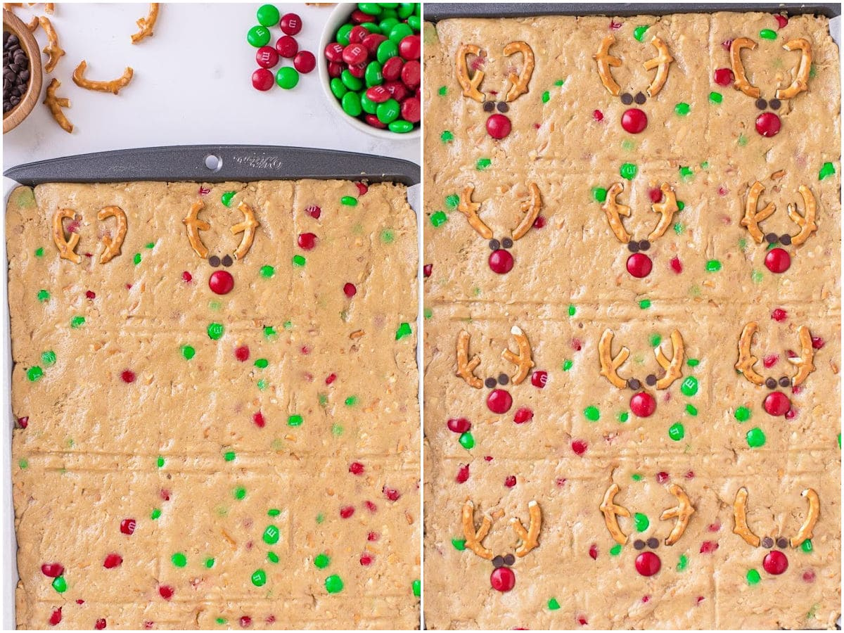 two image collage showing how to make reindeer faces in the top of the cookie bars in the sheet pan