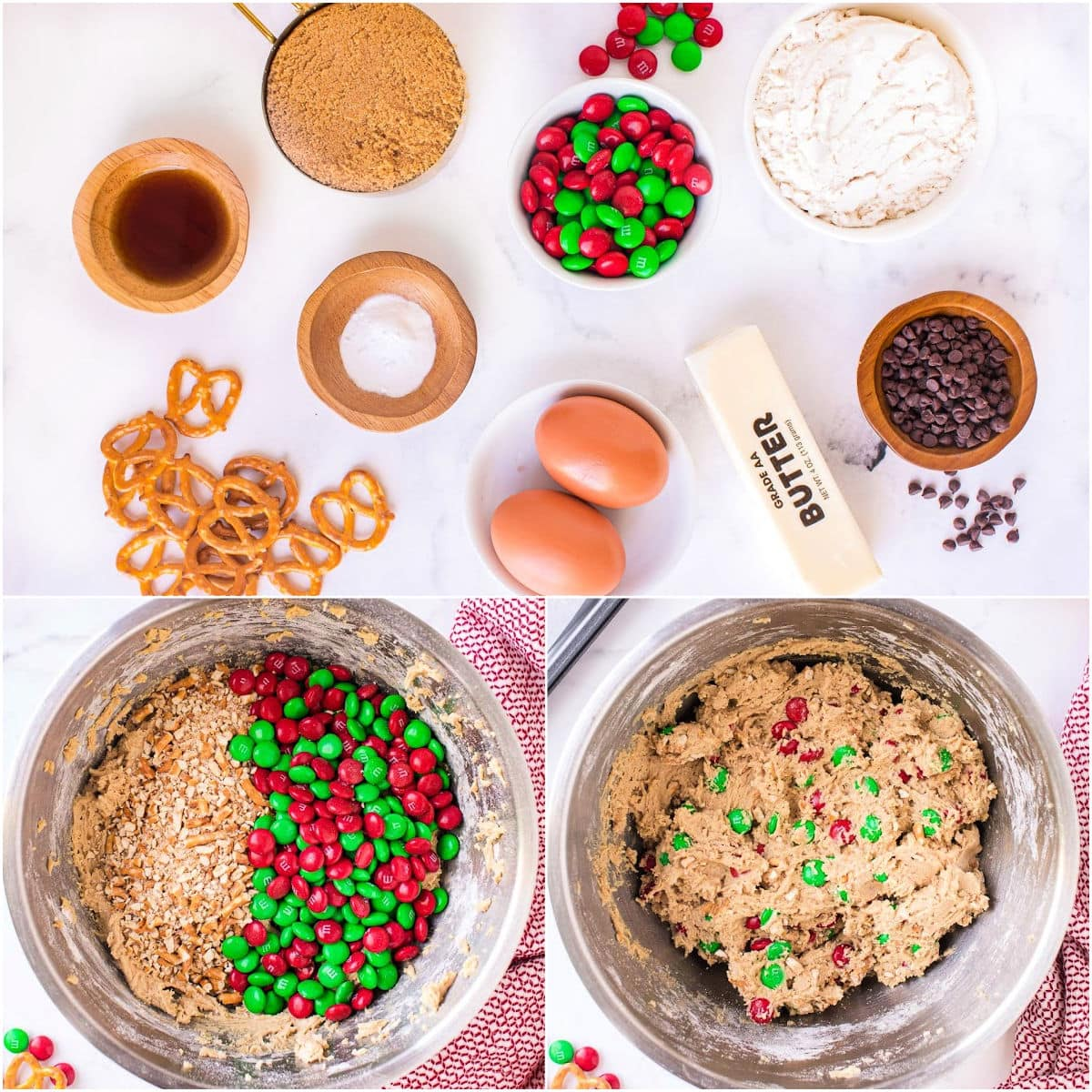 reindeer pretzel cookie bars ingredients laid out on white surface and two images showing dough being mixed together in this three image collage