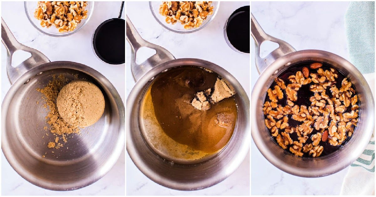 three image collage showing how candied walnuts are made step by step