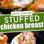 2 image collage of stuffed chicken breast recipe in skillet with center color block and text overlay