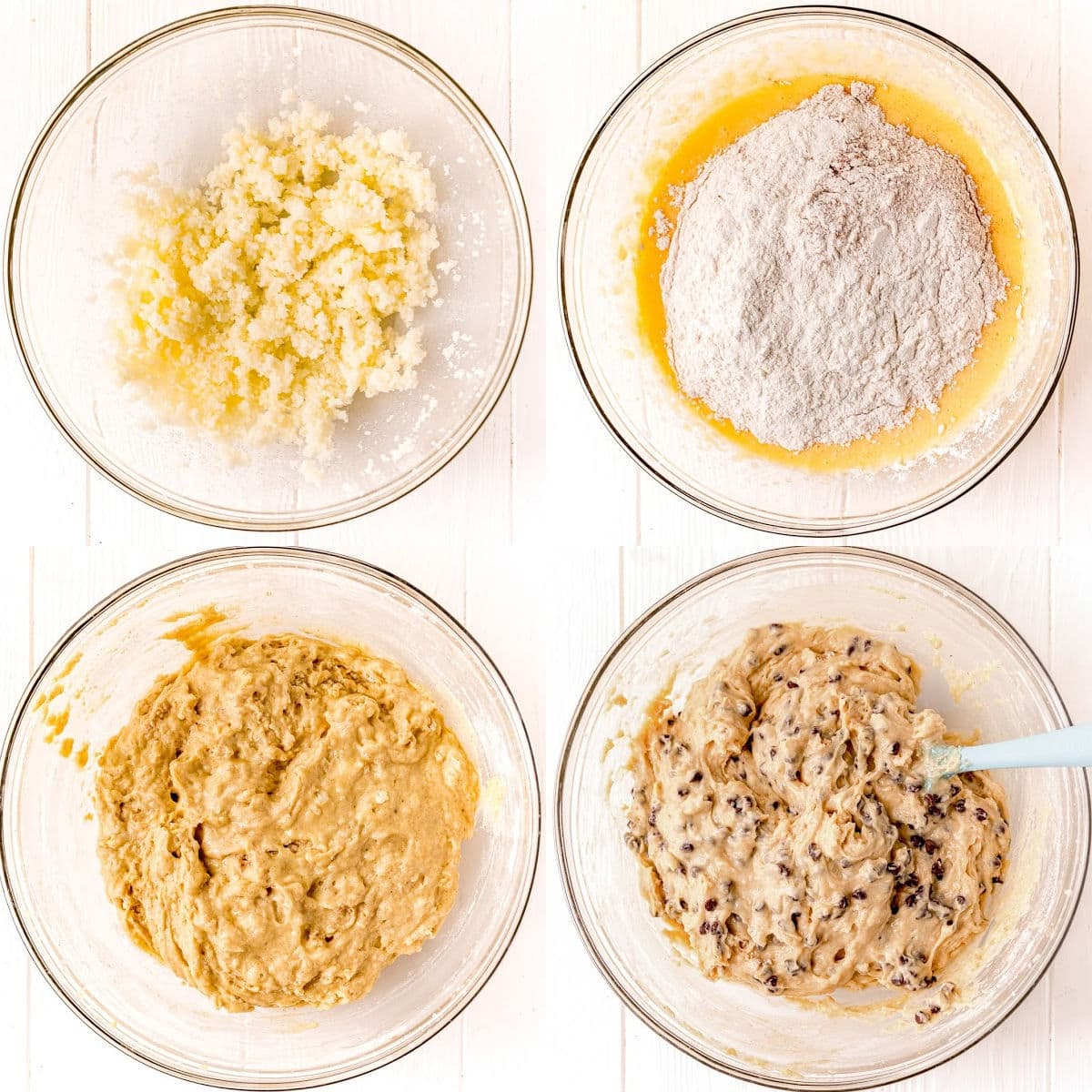 4 image collage showing muffin batter being mixed together