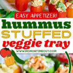 stuffed veggies on white marble tray topped with herbs and olive oil and center color block and text overlay