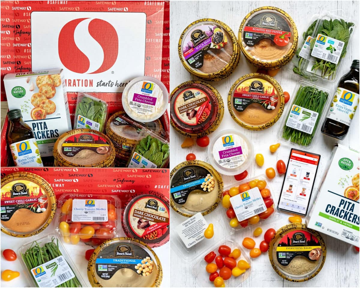2 image collage safeway box filled with hummus and other ingredients and a flat lay of the same products