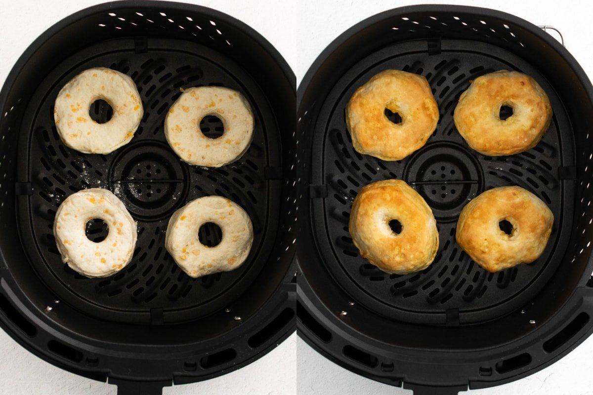 4 donuts being made in air fryer in this 2 image collage