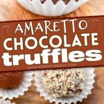 truffle with bite out of it and top down look at four more truffles with center color block and text overlay.