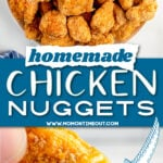 nuggets on plate and being dipped in sauce with center color block and text overlay.