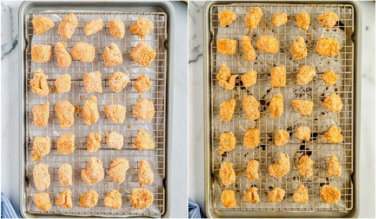 baked chicken nuggets on wire racks.