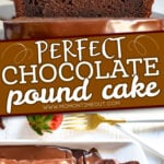 2 image collage of chocolate pound cake with center color block and text overlay
