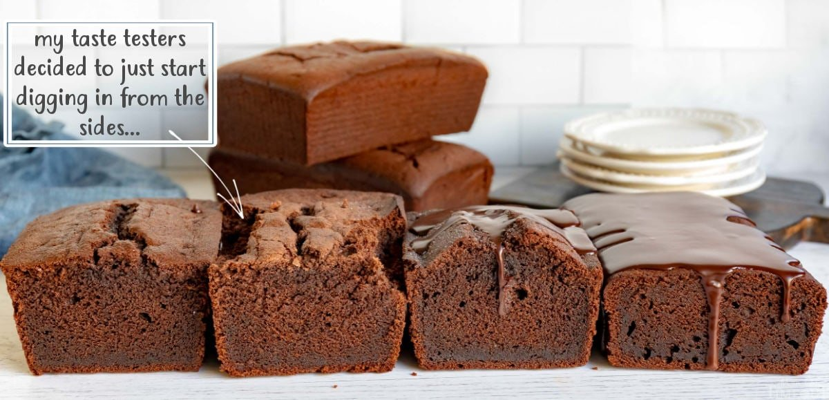 chocolate pound cakes lined up showing texture and color