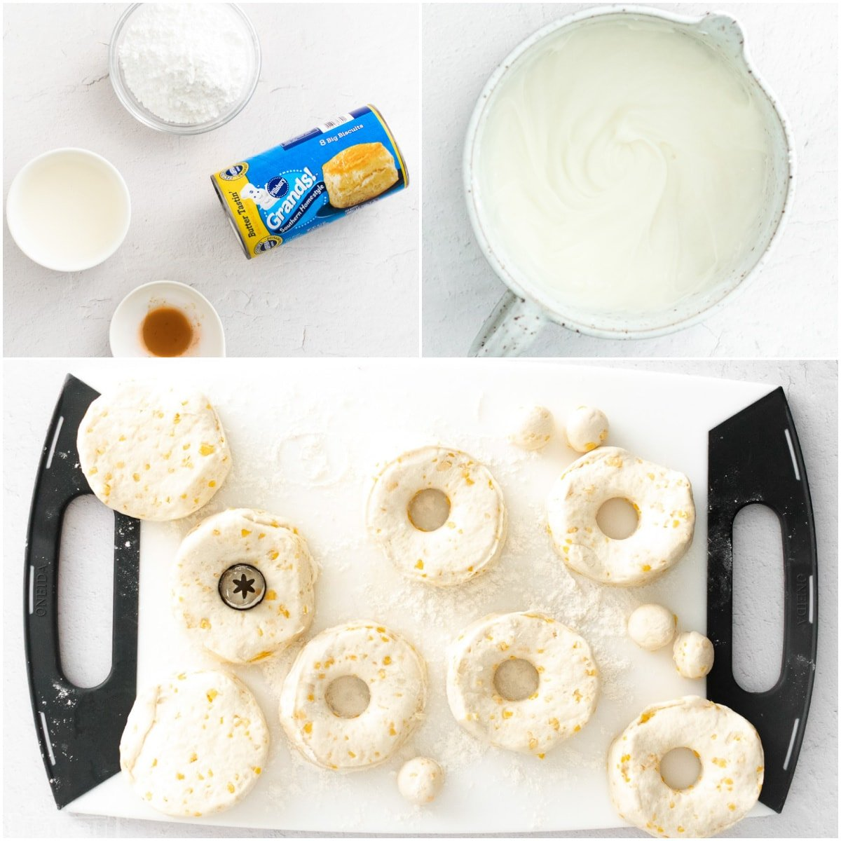 three image collage showing how to make air fryer donuts and vanilla glaze