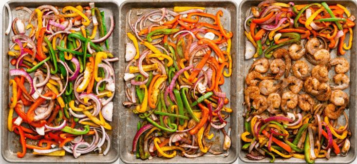 three image collage showing fajita veggies being cooked on a sheet pan