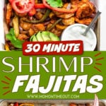 shrimp fajitas made on a sheet pan with fajitas in flour tortillas and all the toppings around them.