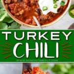 turkey chili recipe in a bowl and in a ladle with center color block and text overlay.
