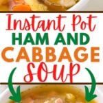 white bowl of cabbage soup with center color block and text overlay.