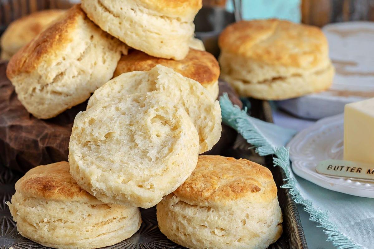 biscuit split in half showing interior of biscuit.