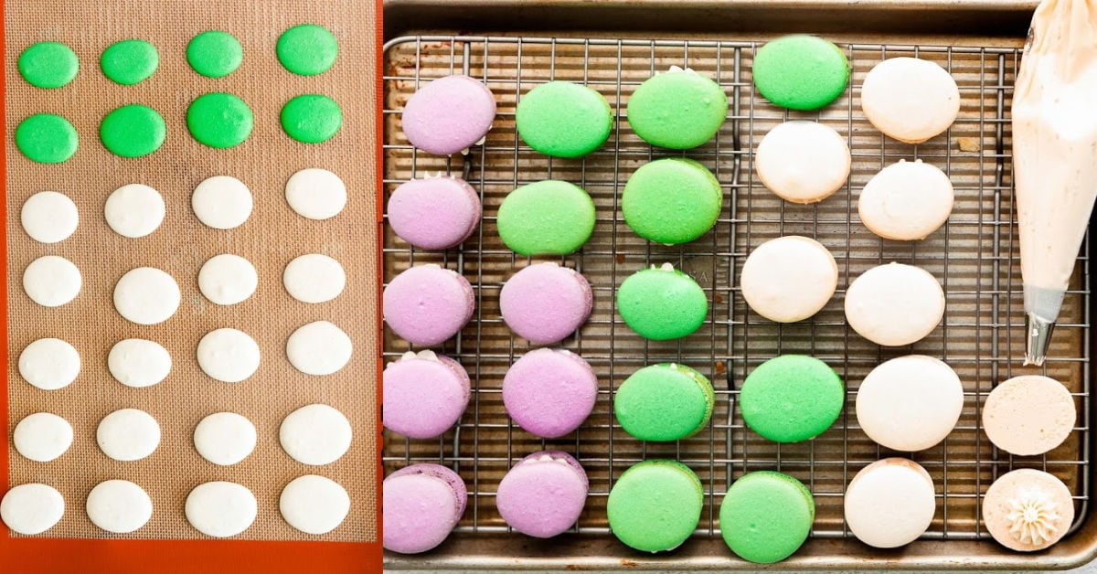 baking macarons and assembling in a 2 image collage.
