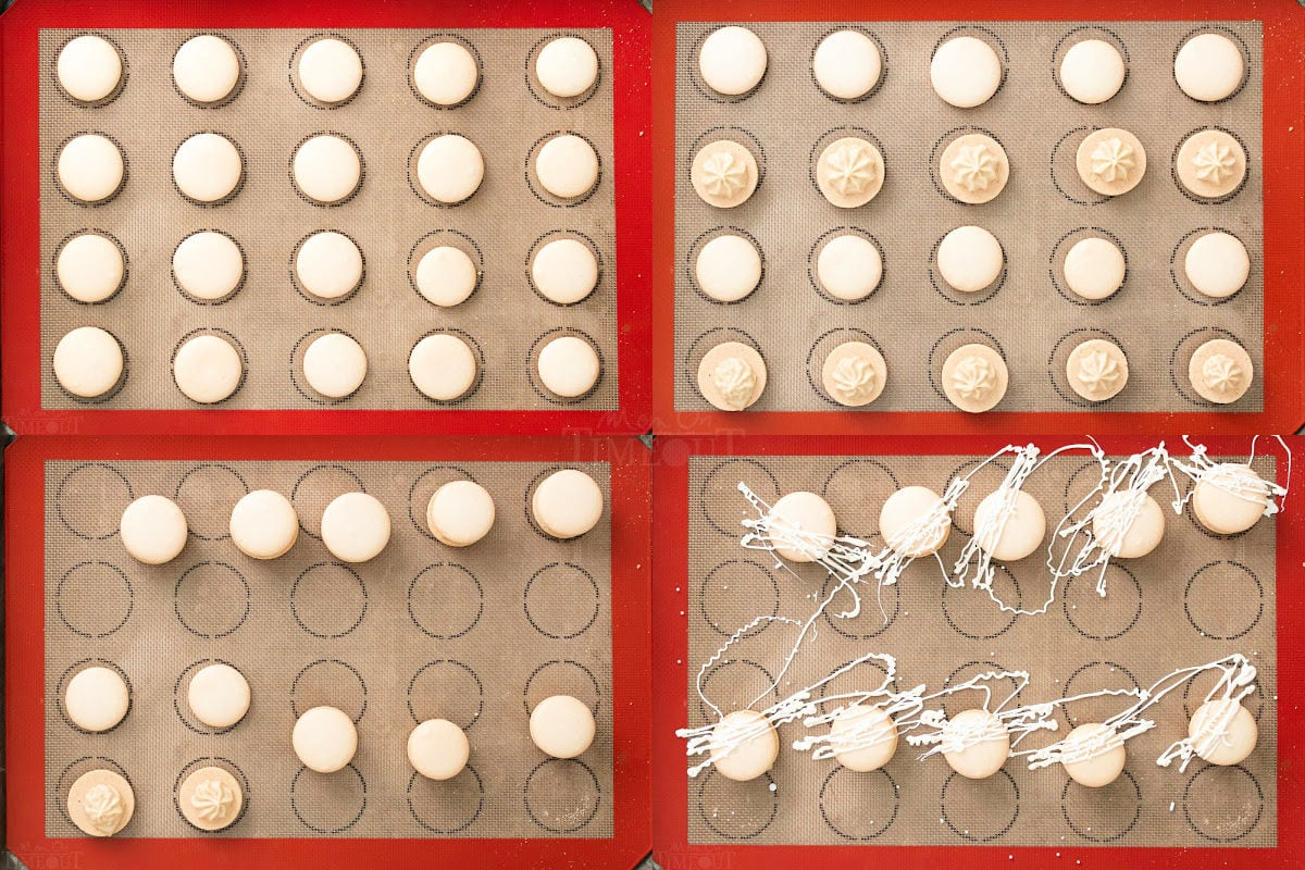 how to assemble macarons in four image collage.