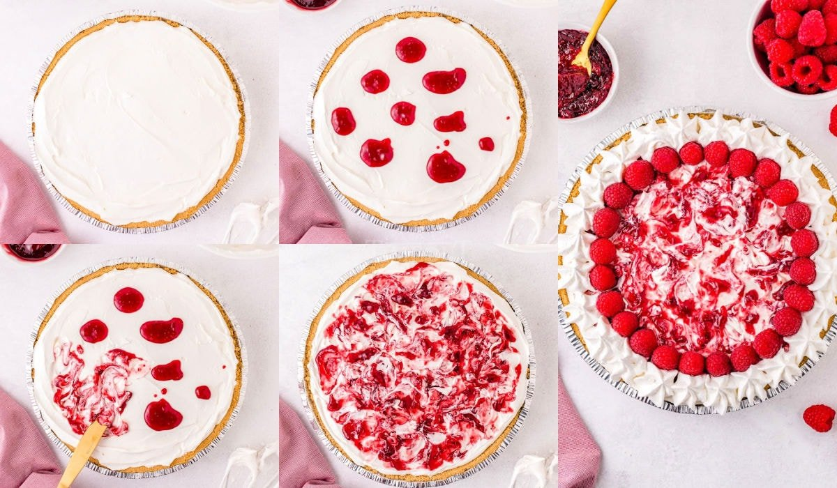 five image collage showing raspberry cheesecake being assembled and decorated.
