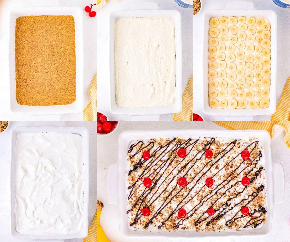 collage showing steps of assembling the no bake banana split dessert.
