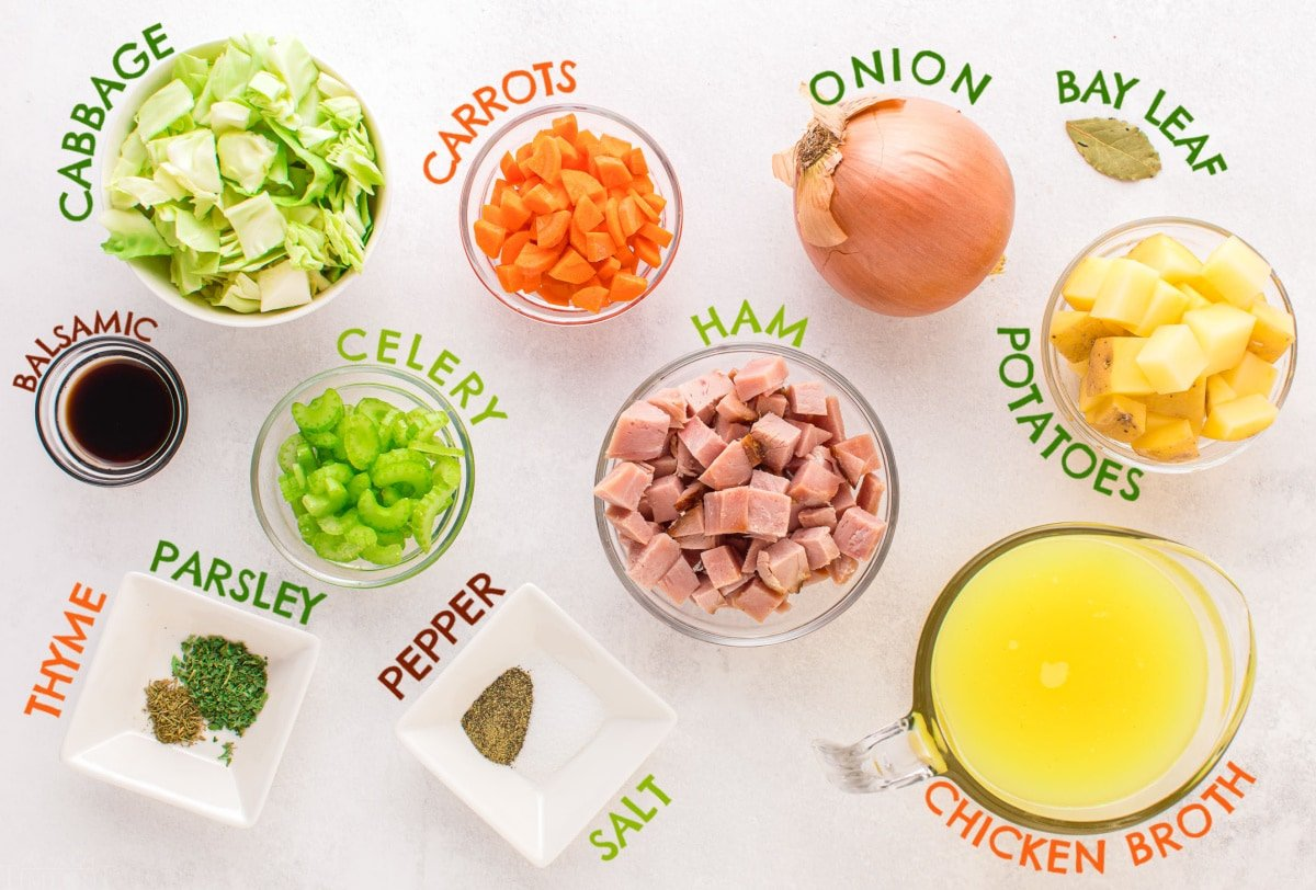cabbage soup ingredients measured out into small bowls and labeled.