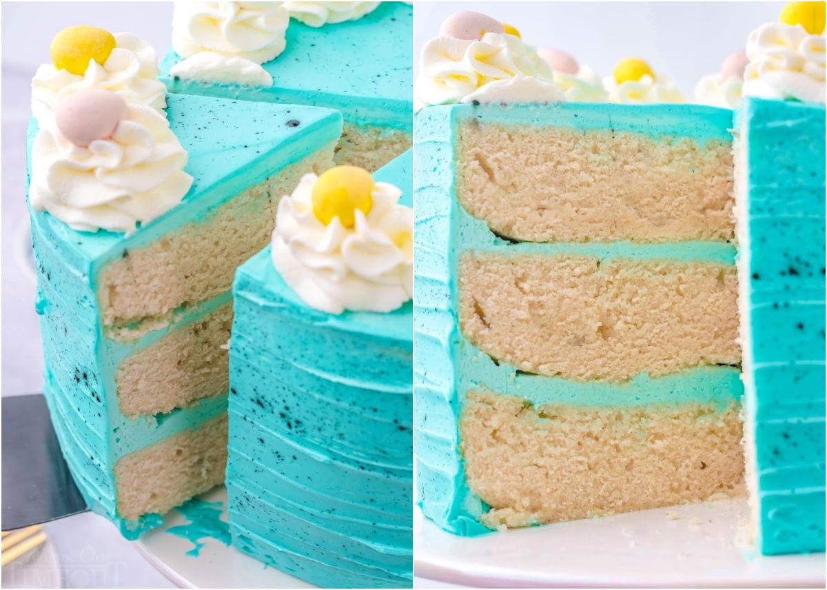 two image collage showing a slice of cake being pulled away from the cake and a close up of the interior of the cake.
