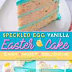 vanilla cake decorated for easter with cadbury eggs and teal frosting. three image collage with a center color block and text overlay.