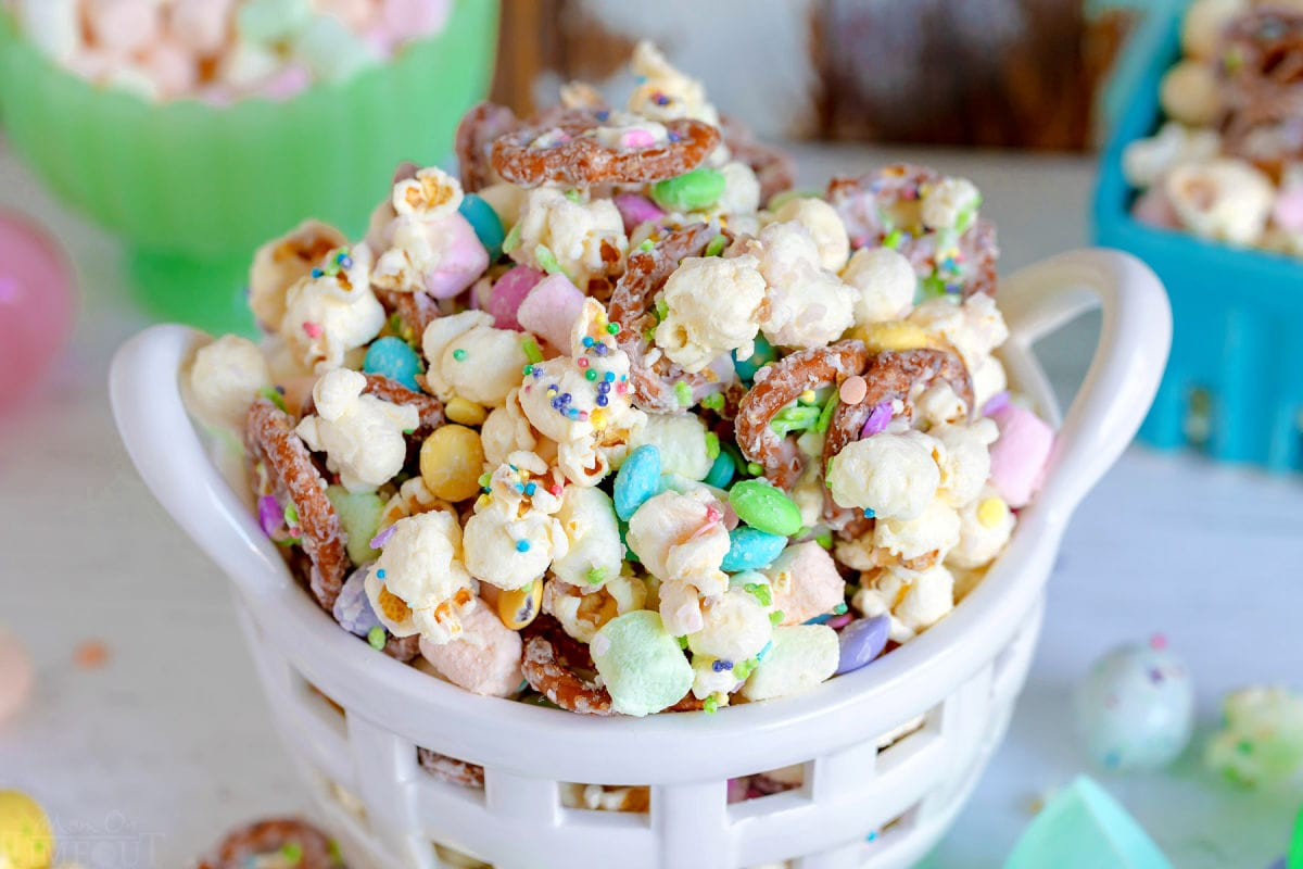 close up look at snack mix with easter sprinkles.