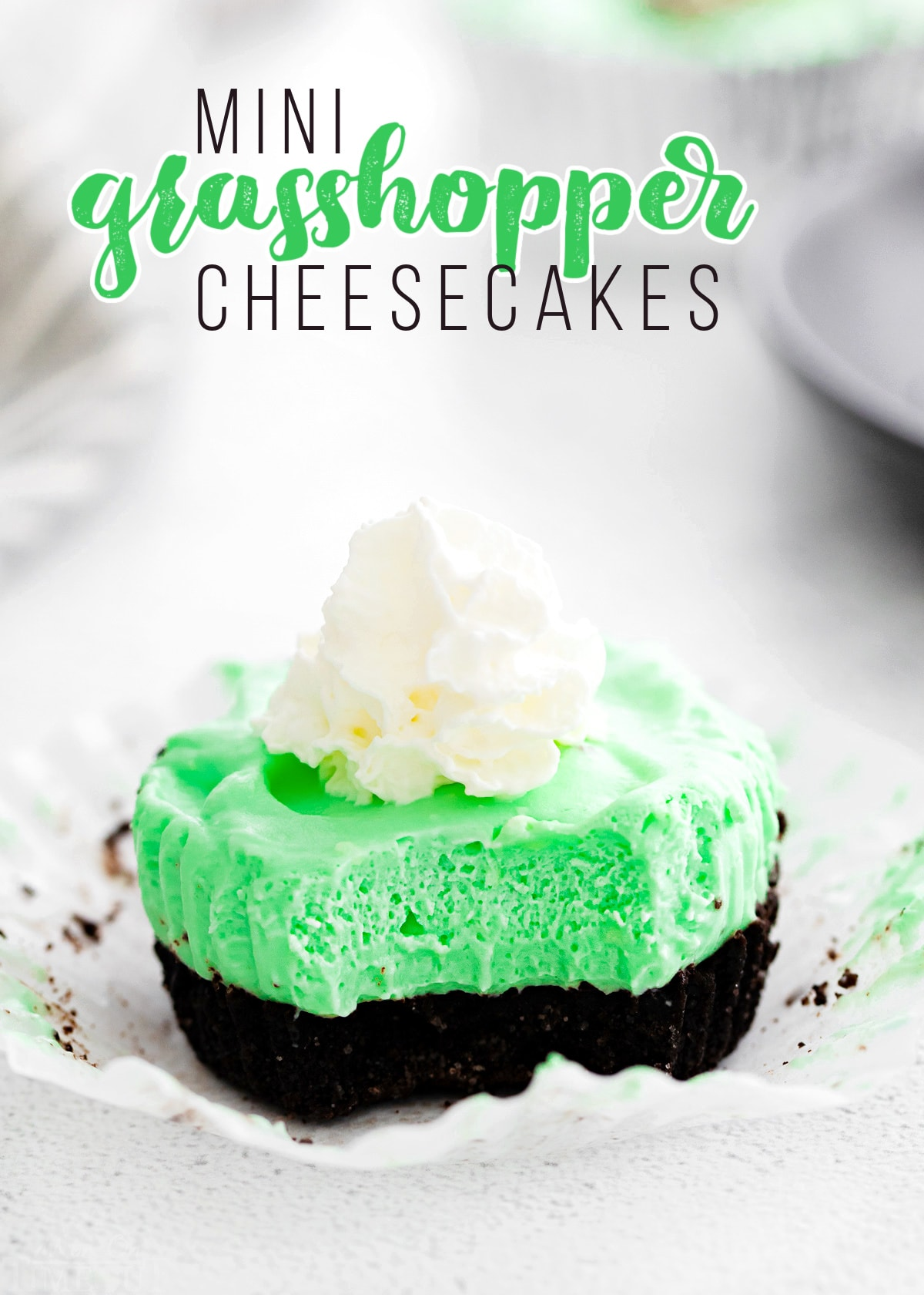 grasshopper mini cheesecake unwrapped and sitting on white surface with title overlay at top.