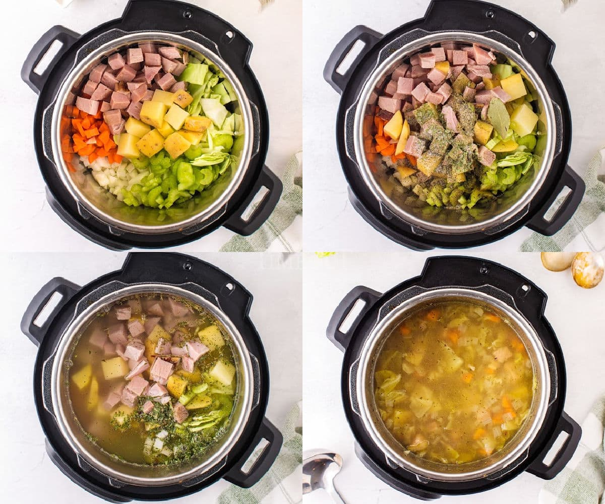 4 image collage showing soup being made in instant pot.