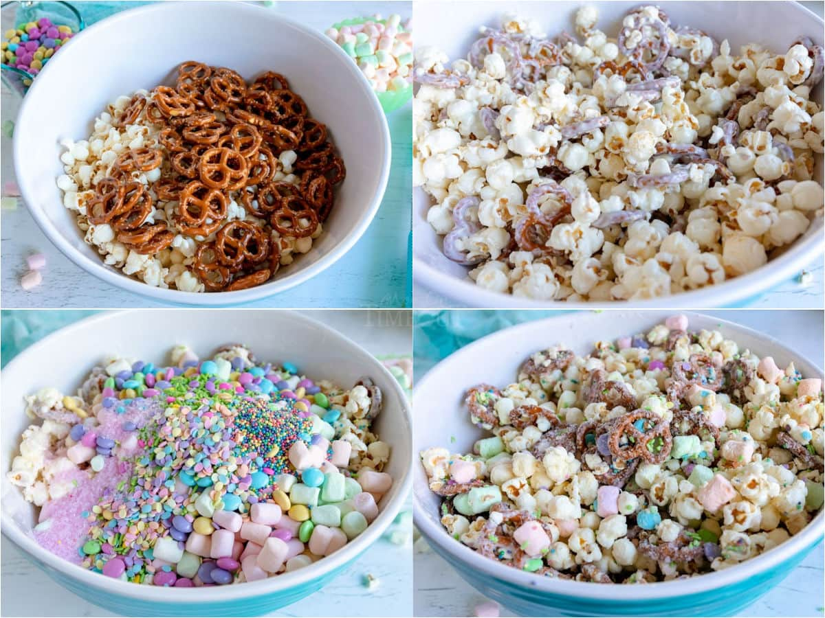 4 image collage showing bunny bait snack mix being mixed together.