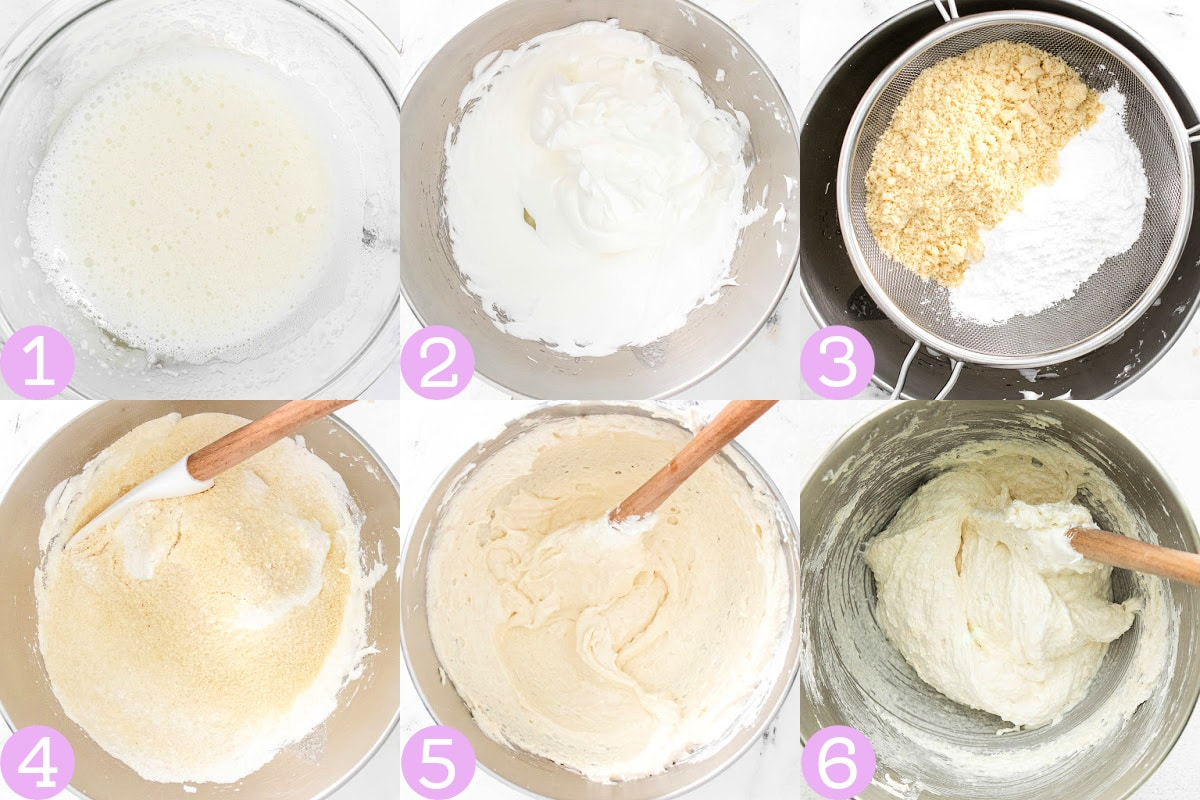 six image collage showing how to make french macaron batter.