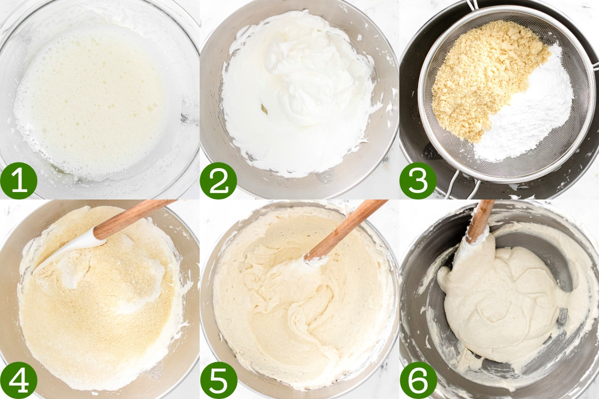 collage showing how to make macaron batter.