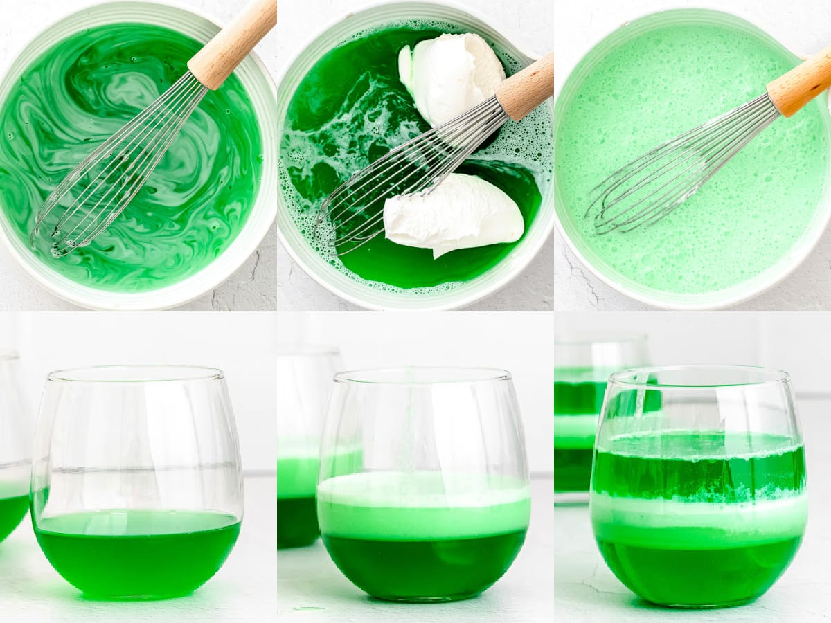 how to make layered jello cups made with jello and cool whip.