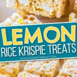 2 image collage showing rice krispies cut up with center color block and text overlay.