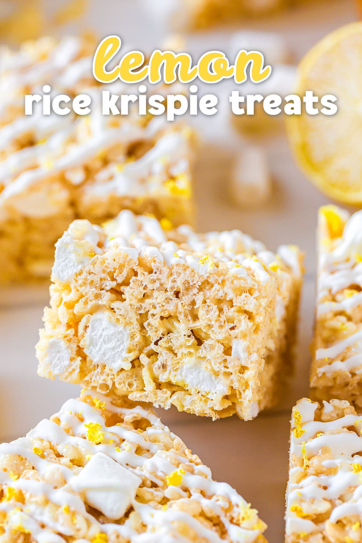lemon rice krispie treat cut into a square with lemon zest and white drizzle on top. title overlay at top of image.