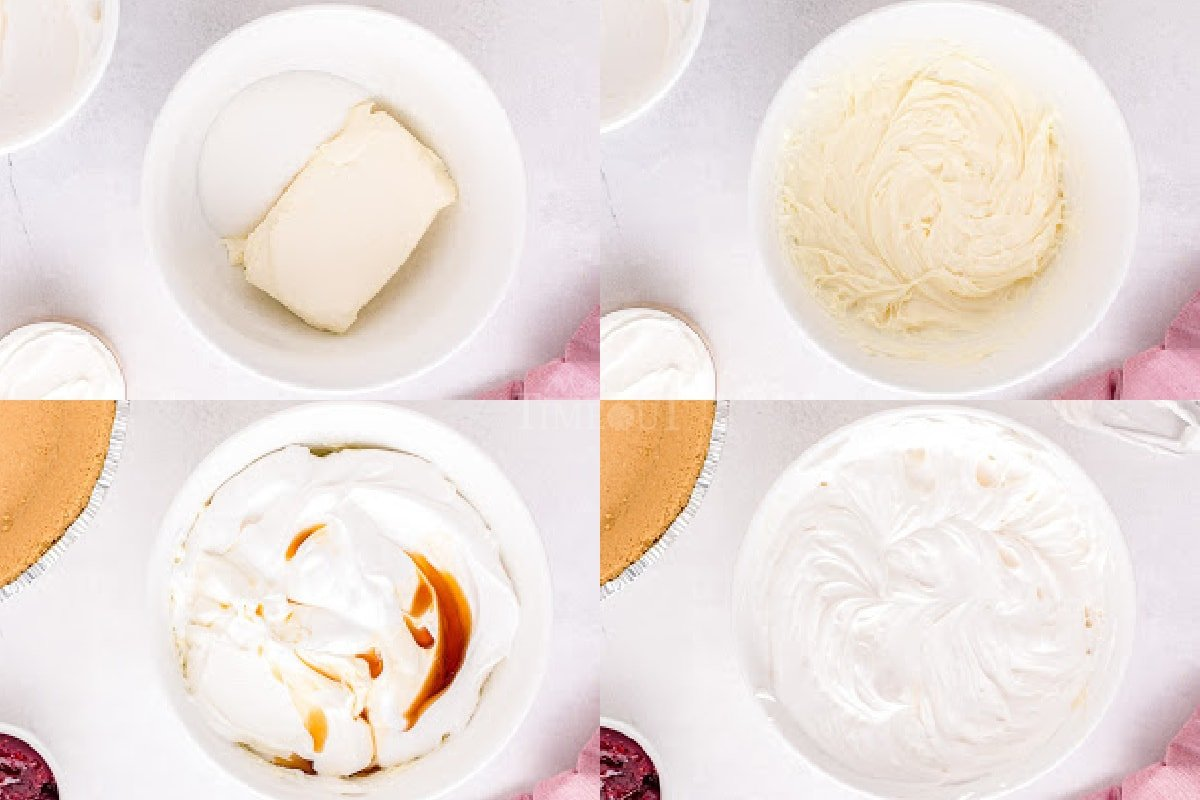 4 image collage showing no bake cheesecake filling being made.