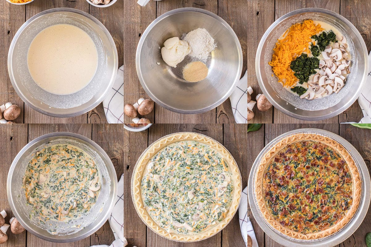 six image collage showing how to make spinach quiche.