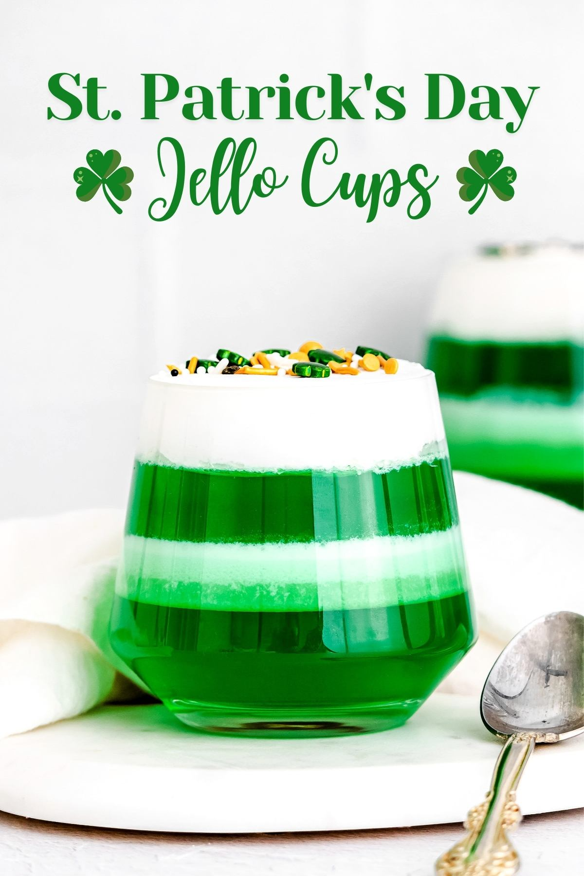 layered jello cups with green jello and cool whip with title overlay at top.