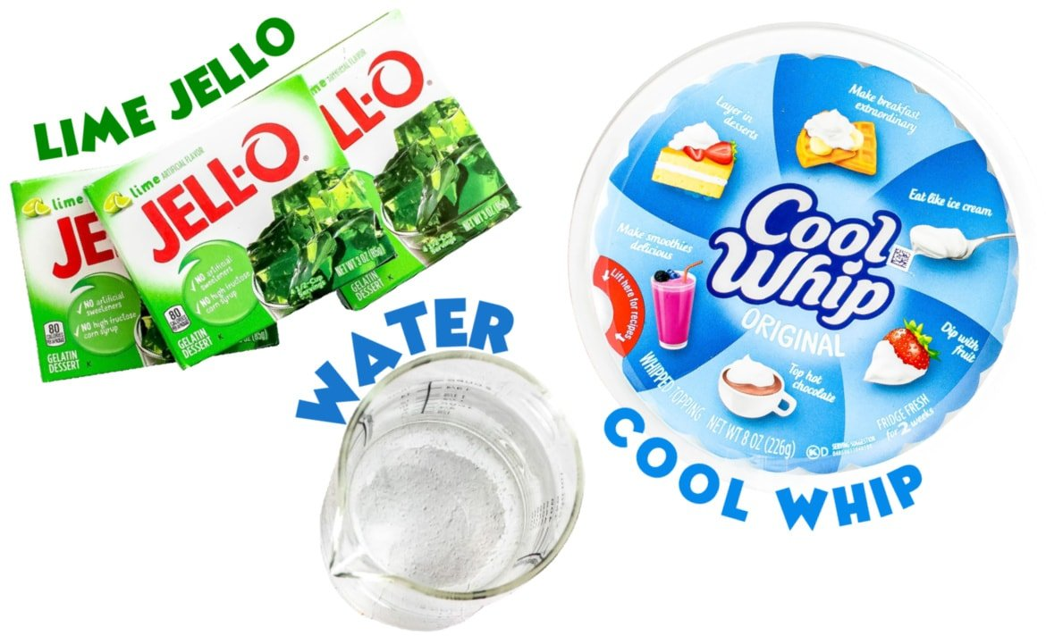 layered jello cups ingredients laid out.