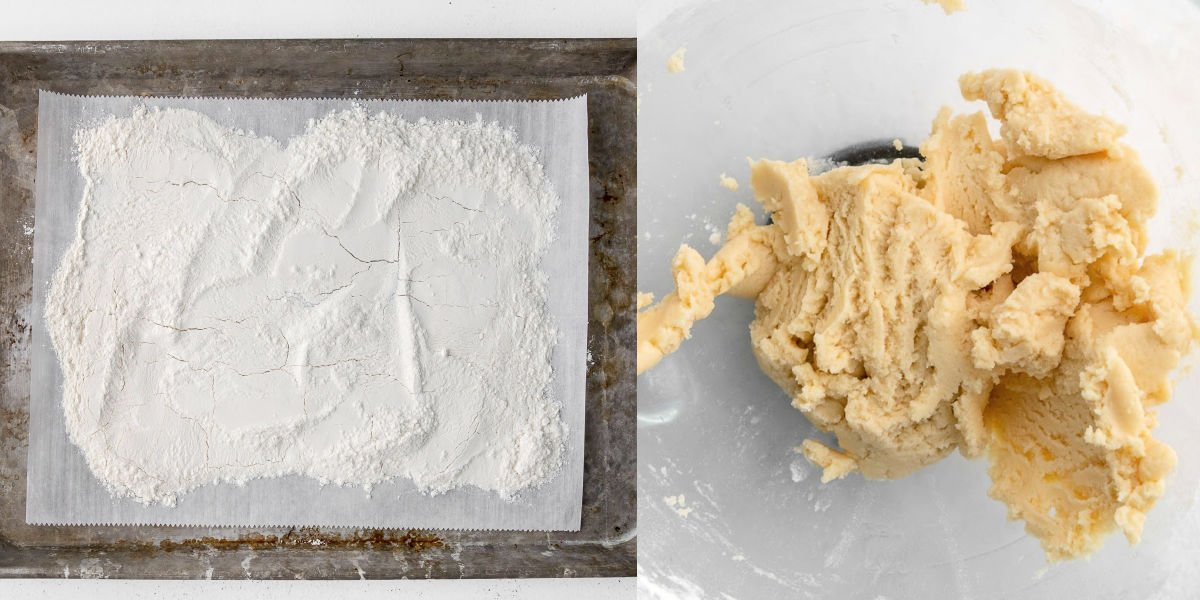 two image collage showing flour on baking sheet ready to bake and sugar cookie dough in bowl.