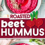 two image collage of bright pink beet hummus in light blue bowl with center color block and text overlay.