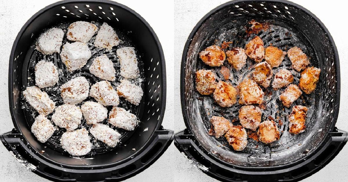 making teriyaki chicken in an air fryer.