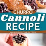 churro cannolis stacked on a plate and being held up in this two image collage.