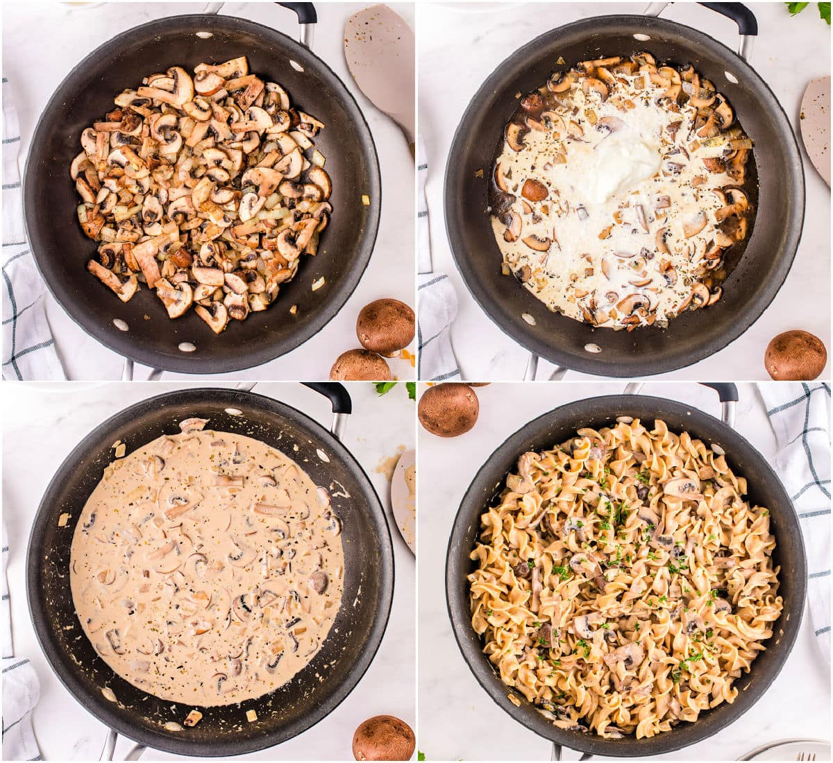 four image collage showing how to make mushroom stroganoff in a skillet.
