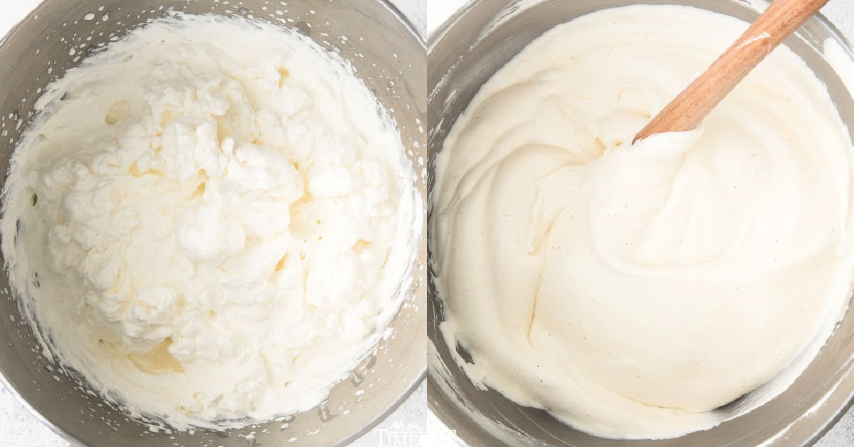 how to make vanilla ice cream shown in 2 image collage.