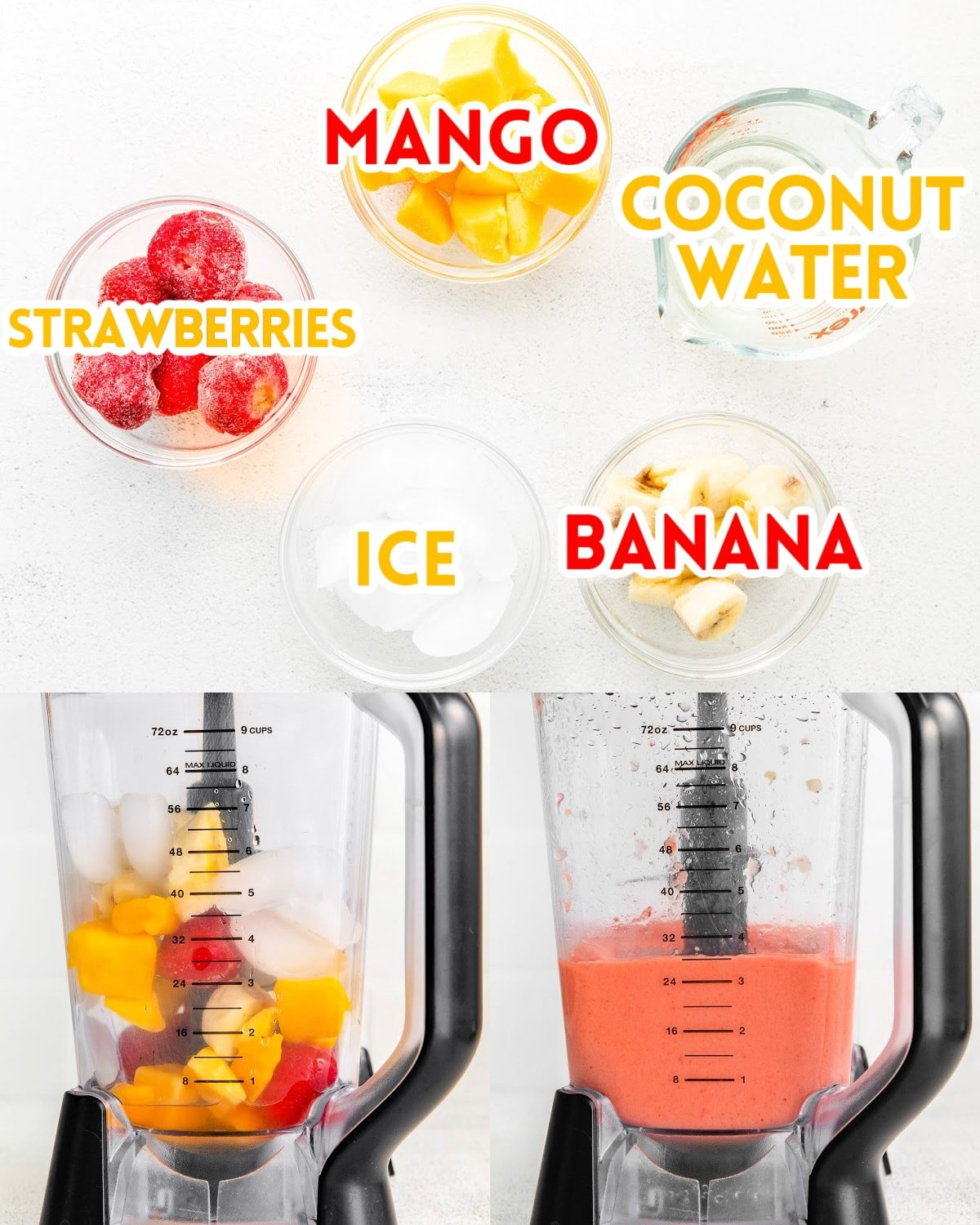 three image collage showing ingredients in small bowls and the smoothie being made in the blender.