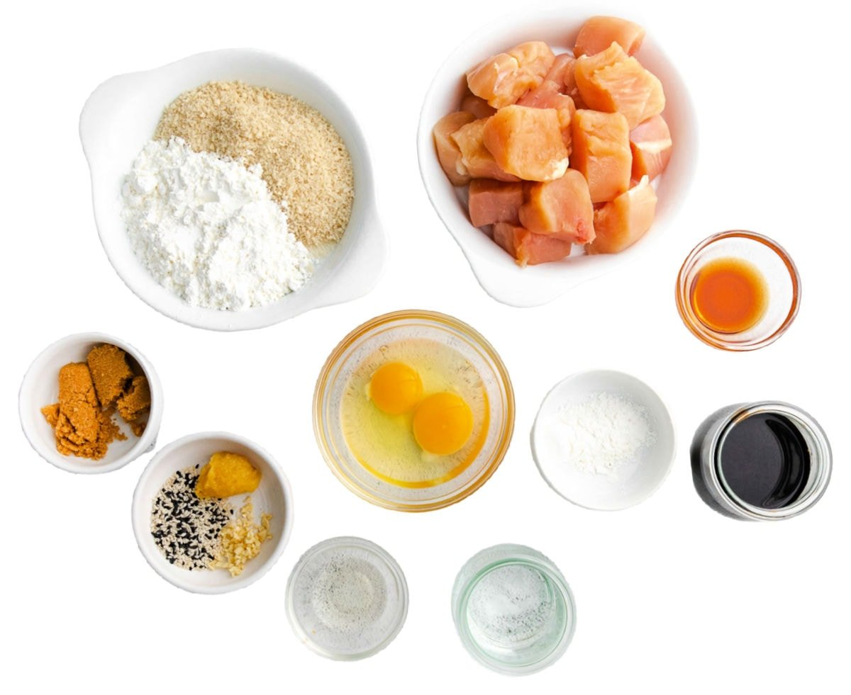 teriyaki chicken ingredients measure out into small bowls