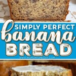 loaf of banana bread on white board and two pieces of banana bread sitting on white plate. center color block and text overlay.